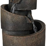3 Tier Bronze Stone Contemporary Tabletop Fountain