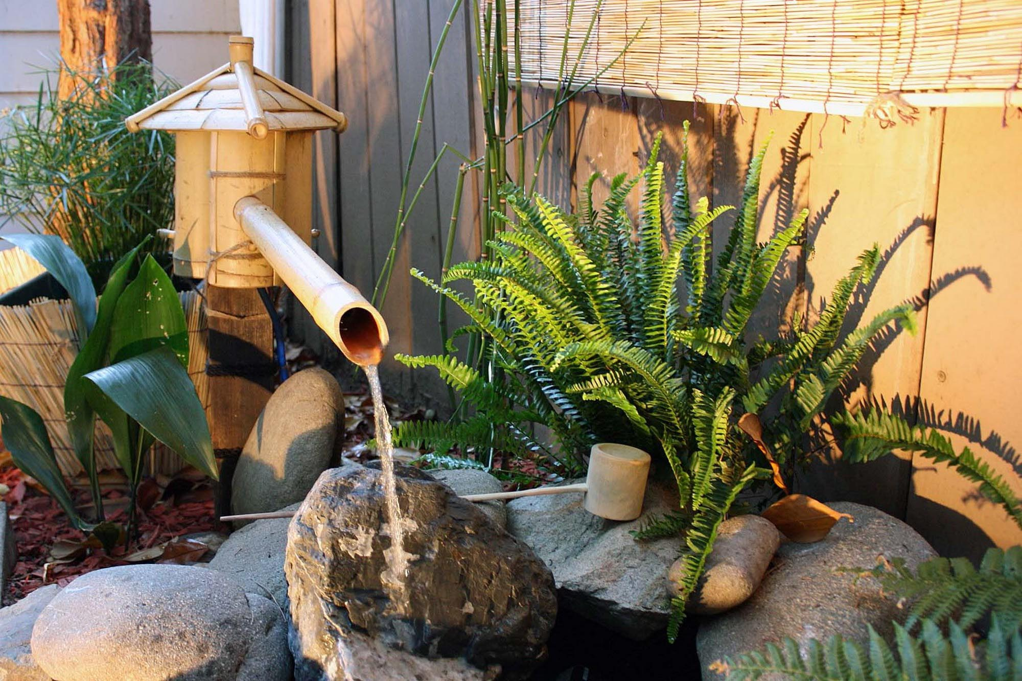 How to make a bamboo water fountain fountain design ideas for Japanese bamboo water feature
