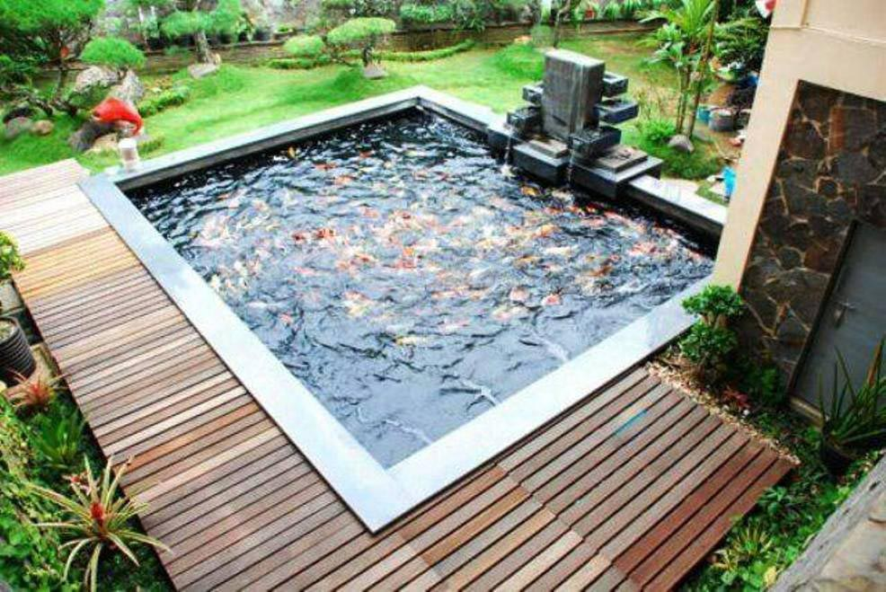 Koi pond fountain fountain design ideas for Koi pool dekor