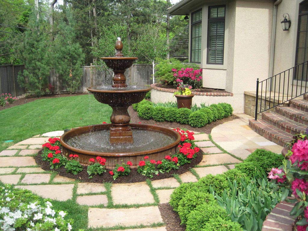 Landscape water fountains is an integral part of yard for Water landscape design