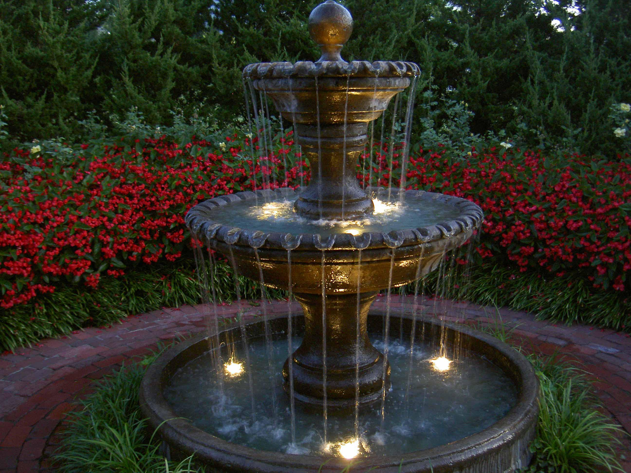 Outdoor Fountains with Lights