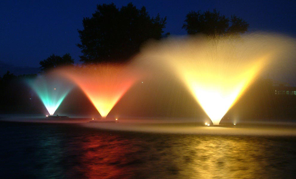 Pond Fountains with Lights