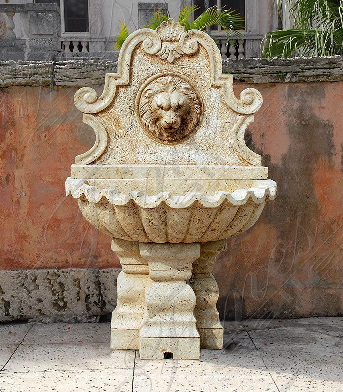 Solar Lion Head Wall Fountain