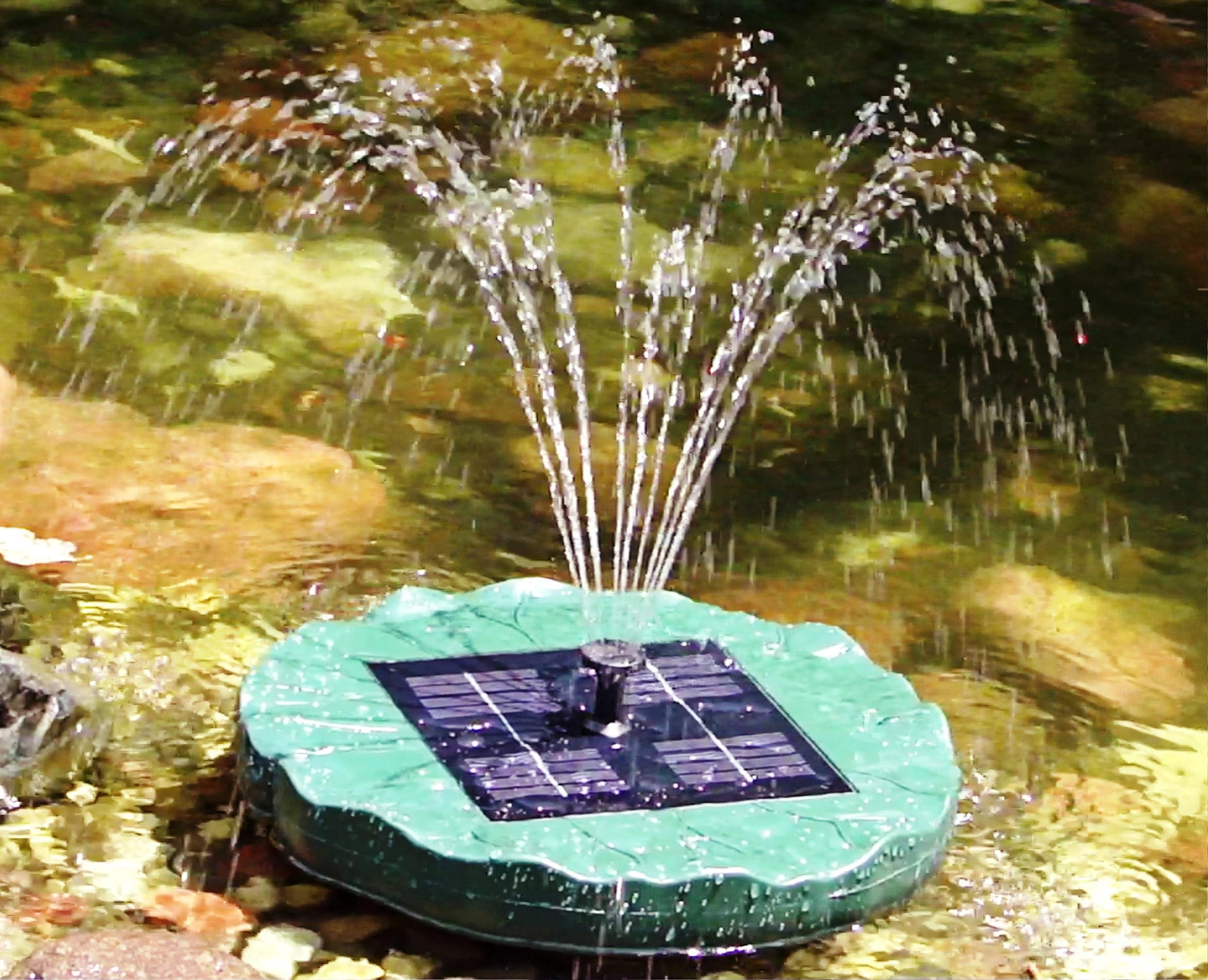 Solar powered pond fountain fountain design ideas for Pond with fountain