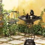 Solar Powered Three Frog Bird Bath Fountain