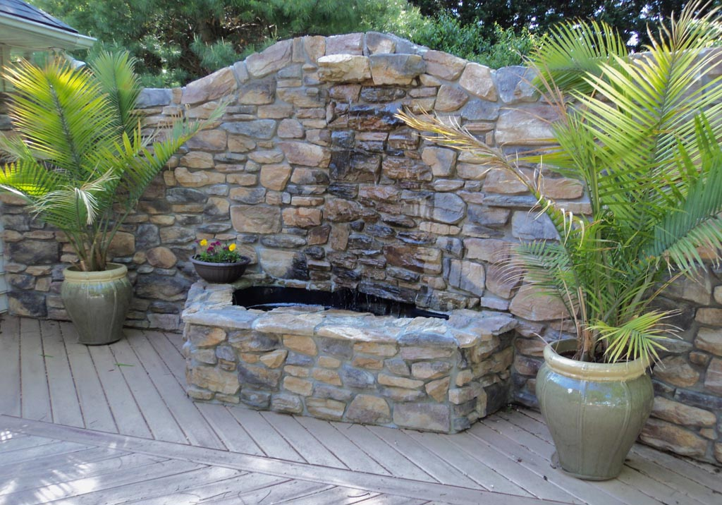 Stone waterfall fountain fountain design ideas for Waterfall fountain