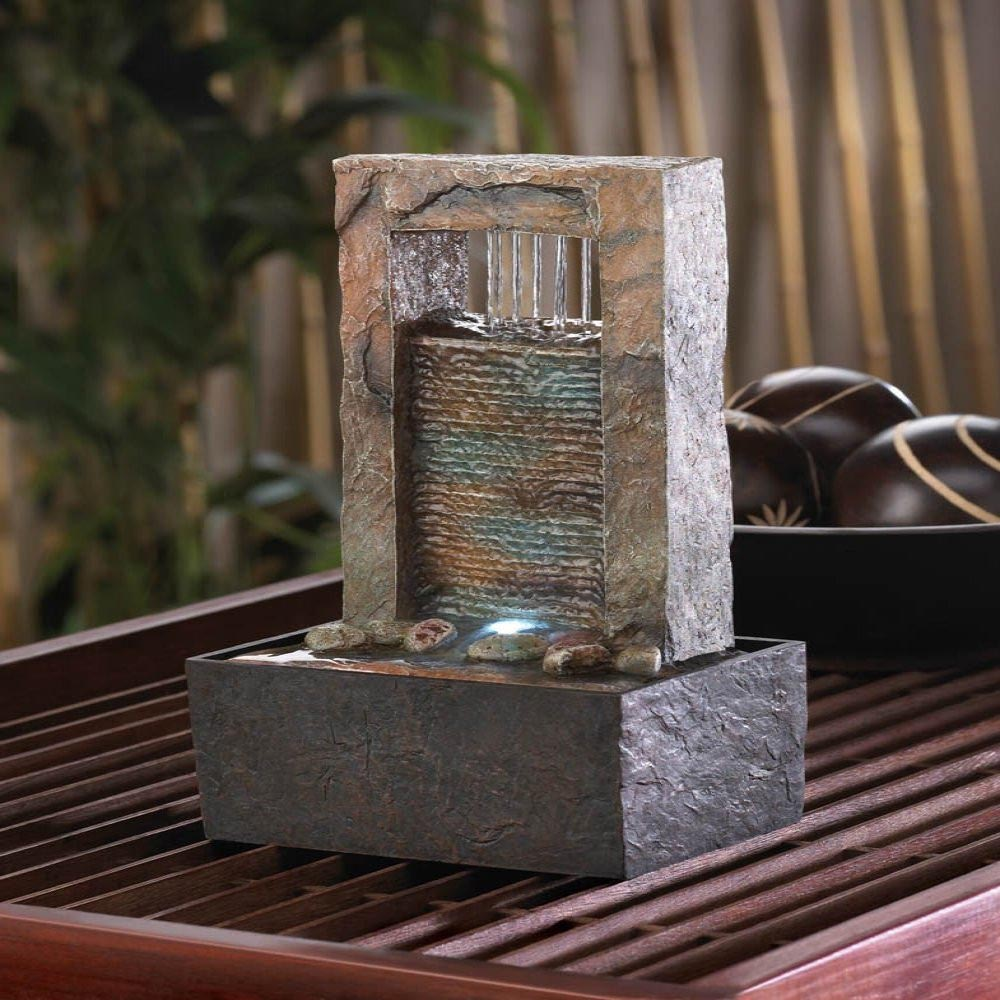 Tabletop water fountains with lights fountain design ideas for Waterfall fountain